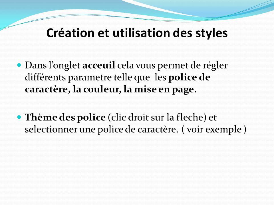 Création et utilisation des styles