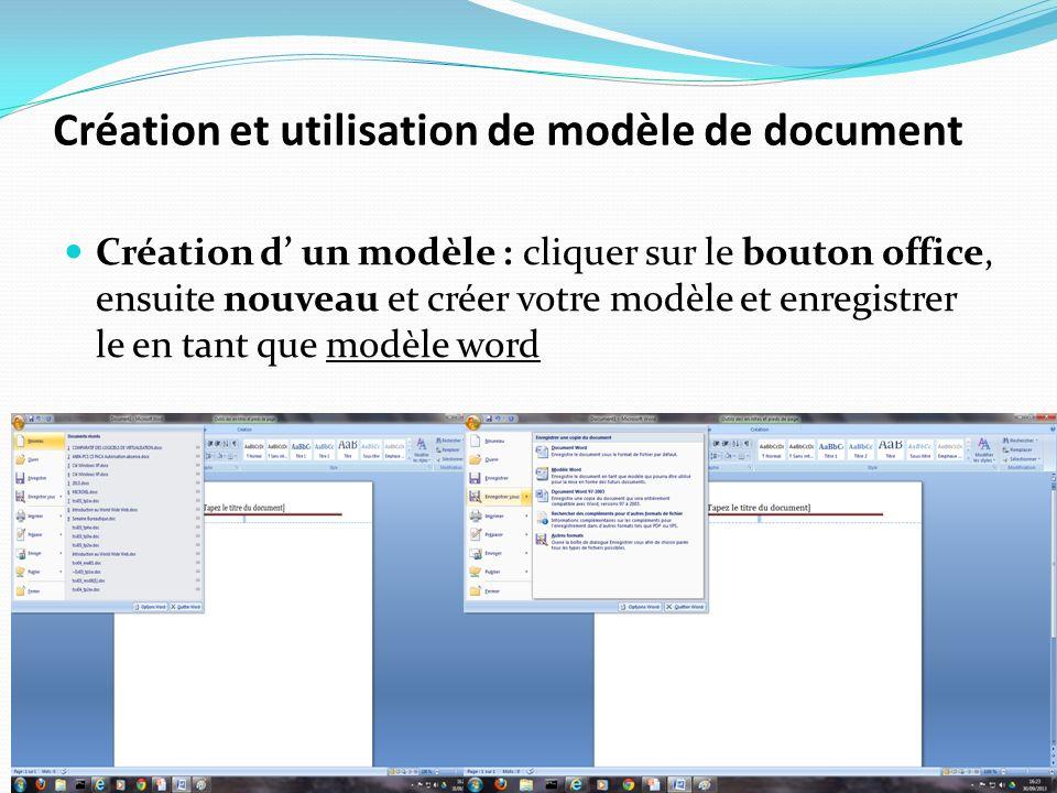Création et utilisation de modèle de document