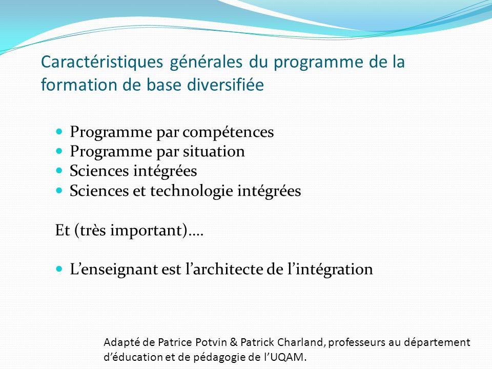 Caractéristiques générales du programme de la formation de base diversifiée