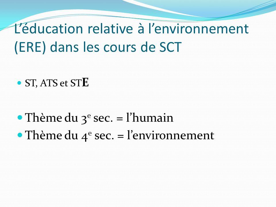 L'éducation relative à l'environnement (ERE) dans les cours de SCT
