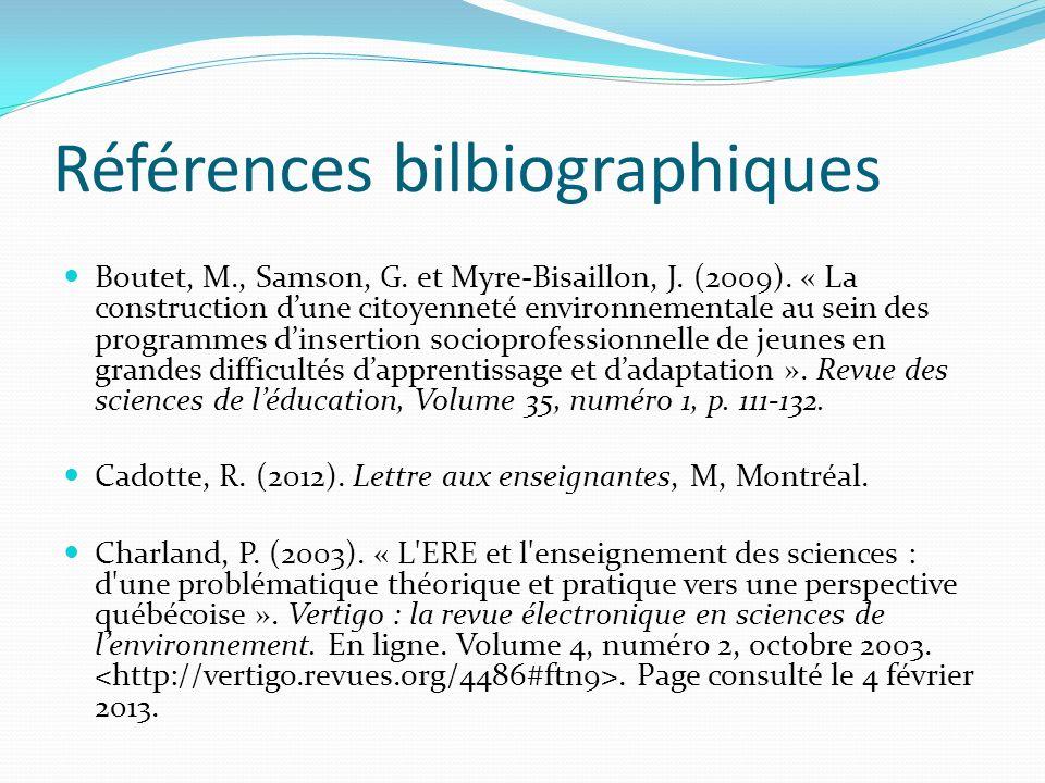 Références bilbiographiques