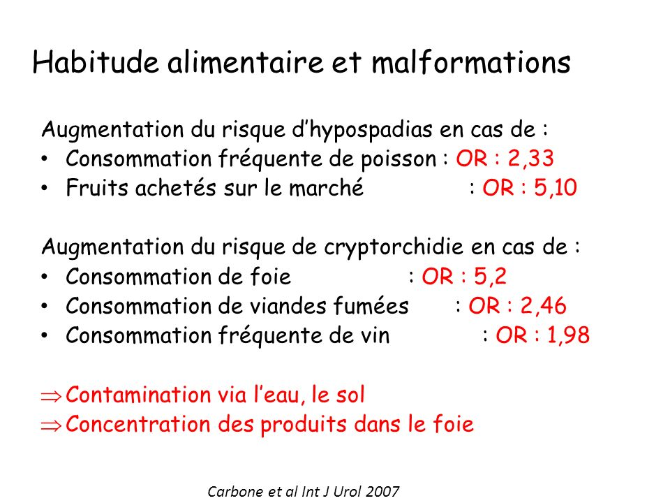 Habitude alimentaire et malformations