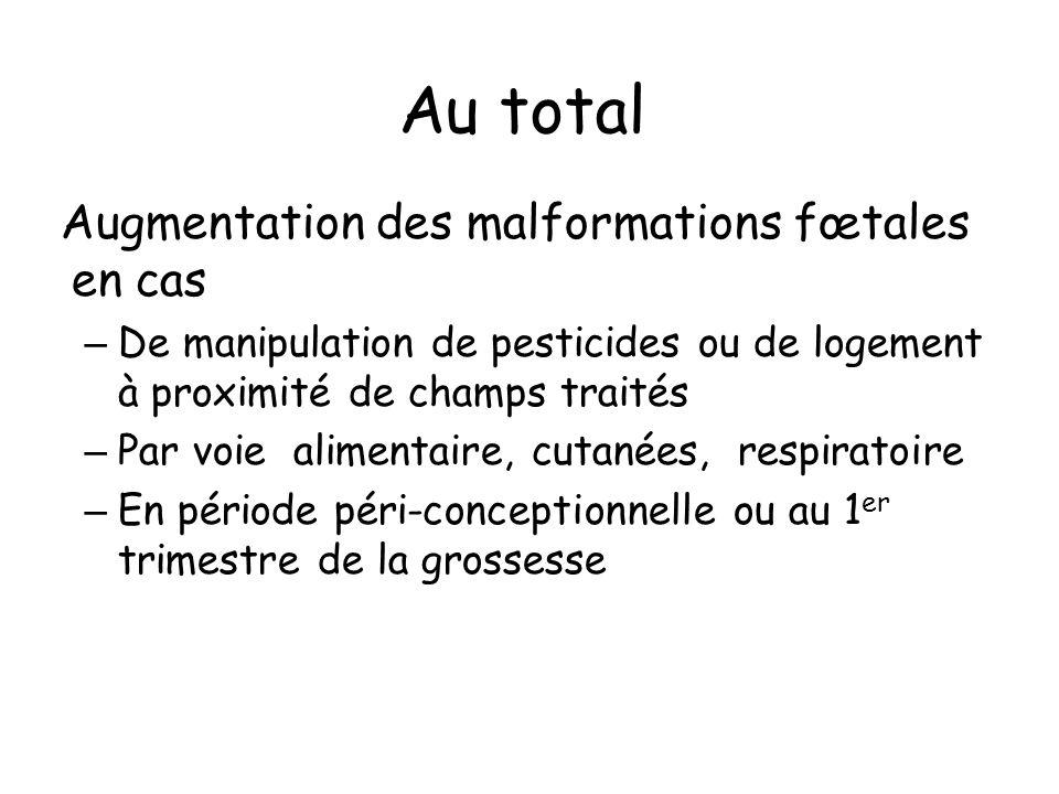 Au total Augmentation des malformations fœtales en cas