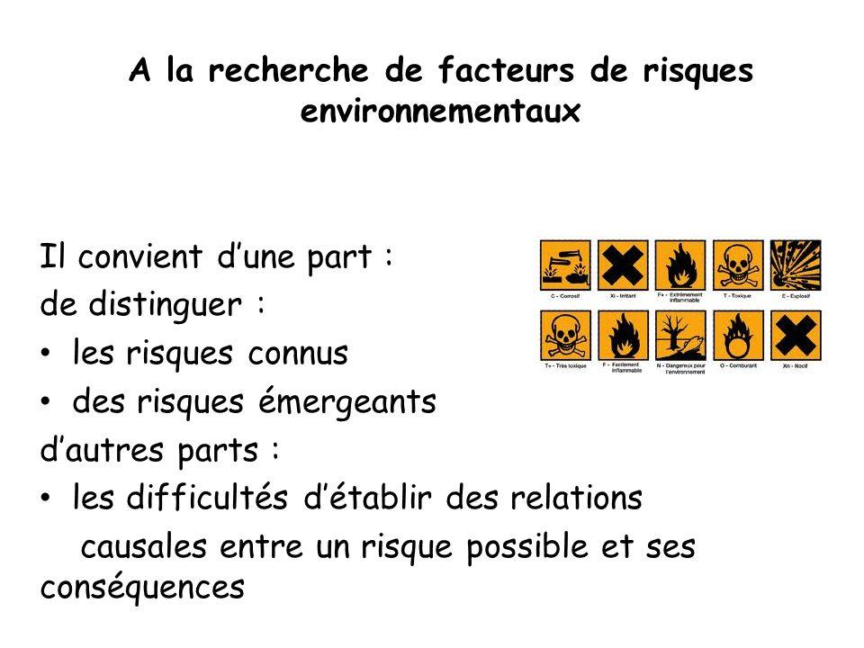 A la recherche de facteurs de risques environnementaux