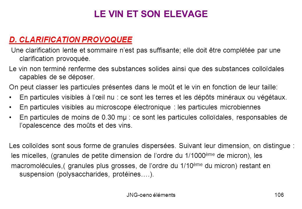 LE VIN ET SON ELEVAGE D. CLARIFICATION PROVOQUEE