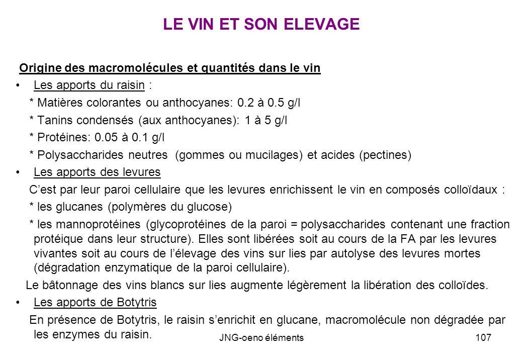 LE VIN ET SON ELEVAGE Origine des macromolécules et quantités dans le vin. Les apports du raisin :
