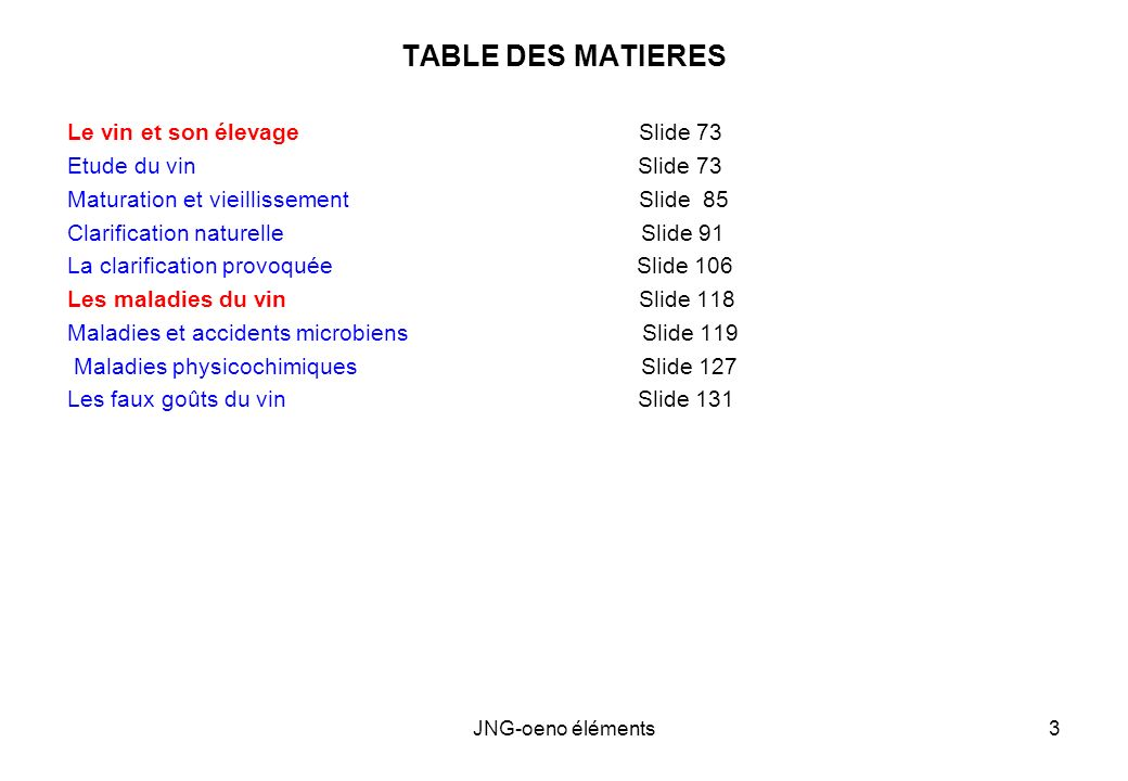 TABLE DES MATIERES