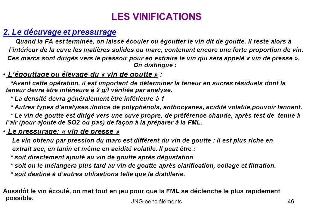 LES VINIFICATIONS 2. Le décuvage et pressurage