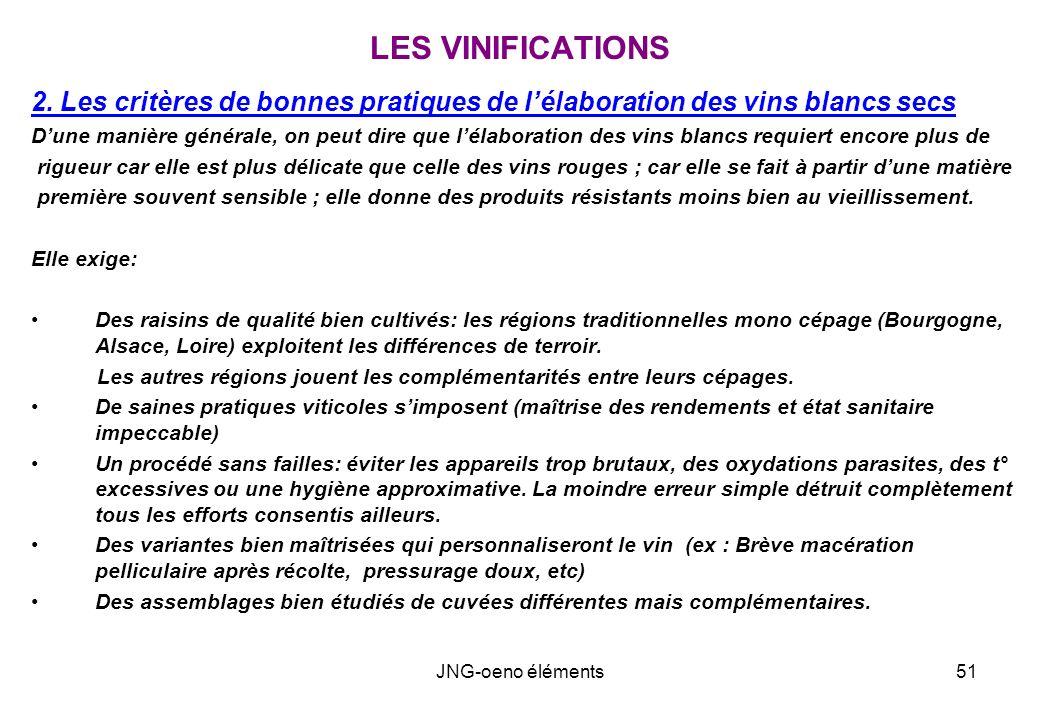 LES VINIFICATIONS 2. Les critères de bonnes pratiques de l'élaboration des vins blancs secs.