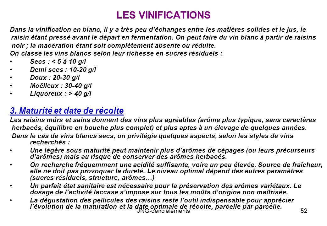 LES VINIFICATIONS 3. Maturité et date de récolte