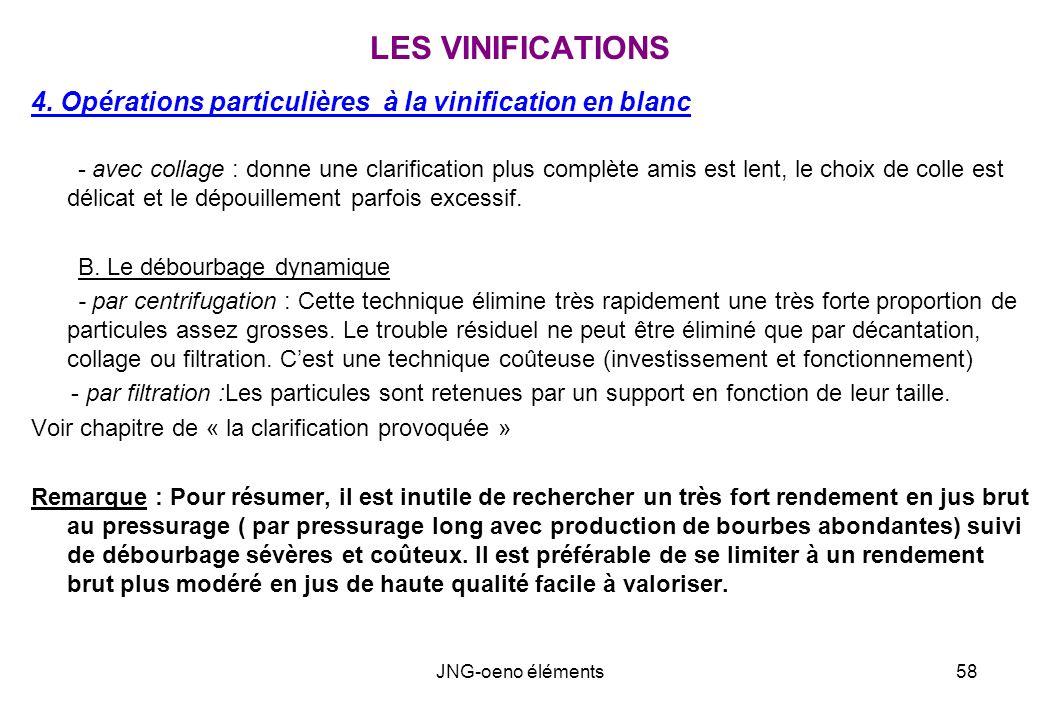 LES VINIFICATIONS 4. Opérations particulières à la vinification en blanc.
