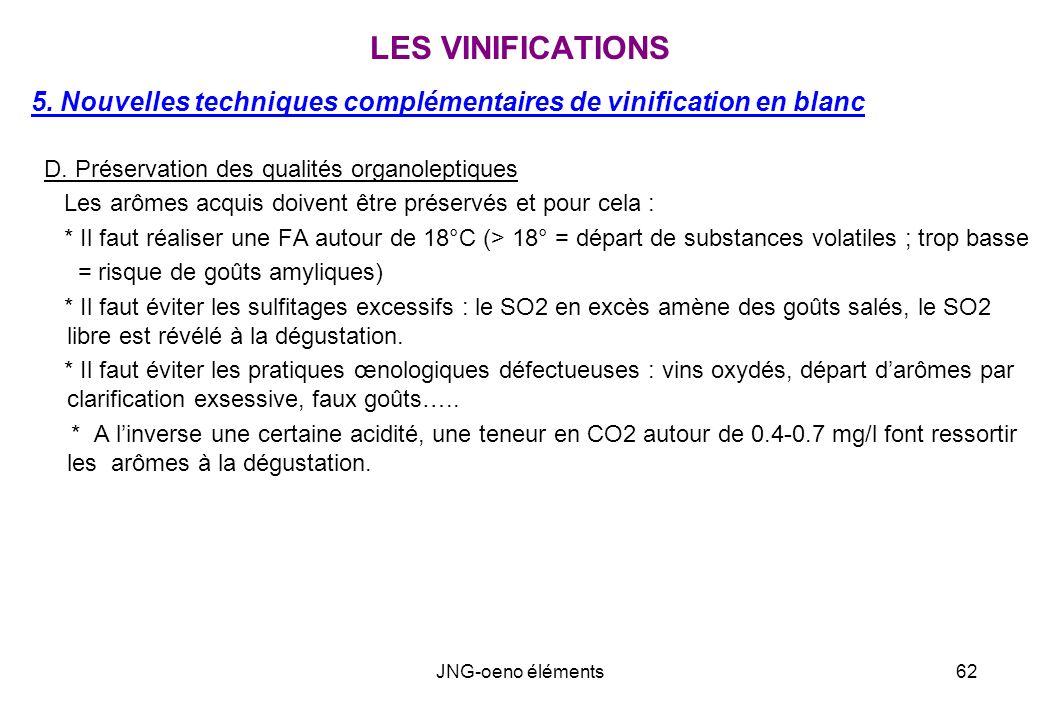 LES VINIFICATIONS 5. Nouvelles techniques complémentaires de vinification en blanc. D. Préservation des qualités organoleptiques.