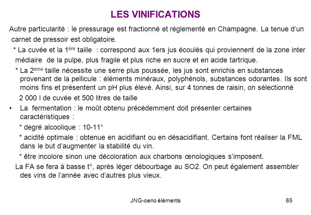 LES VINIFICATIONS Autre particularité : le pressurage est fractionné et réglementé en Champagne. La tenue d'un.