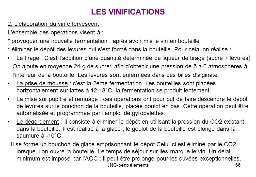 LES VINIFICATIONS 2. L'élaboration du vin effervescent