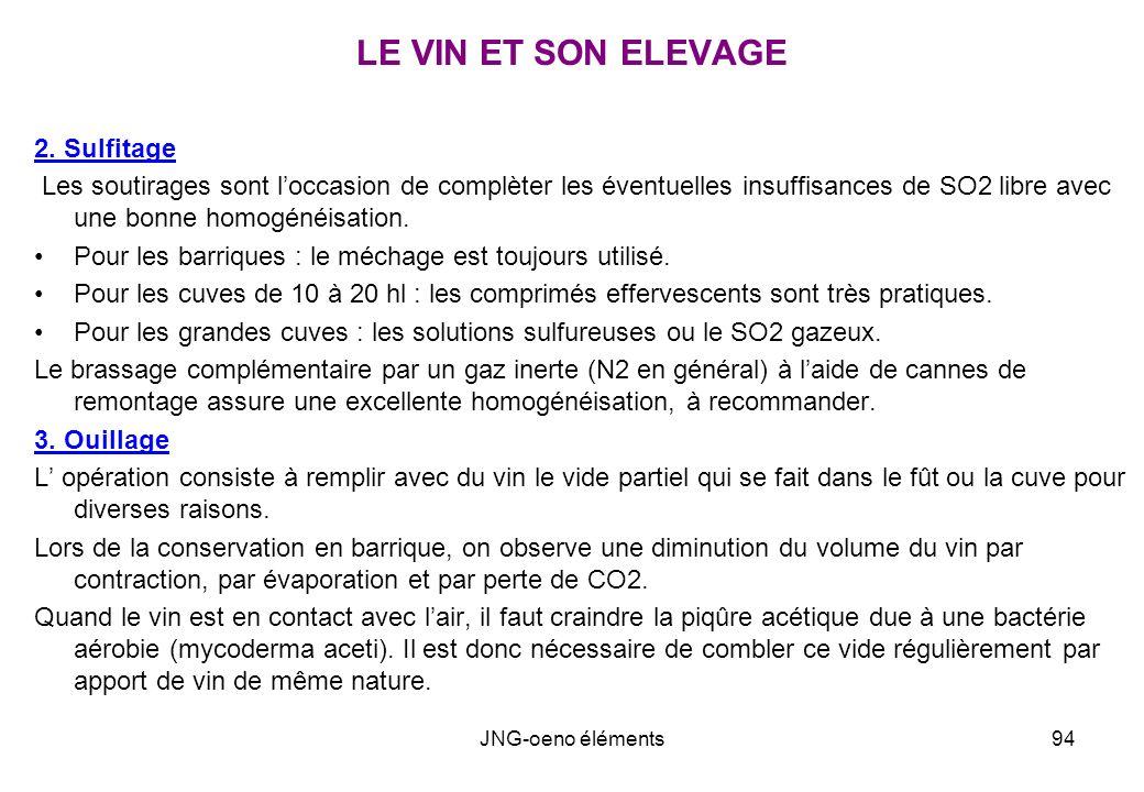 LE VIN ET SON ELEVAGE 2. Sulfitage