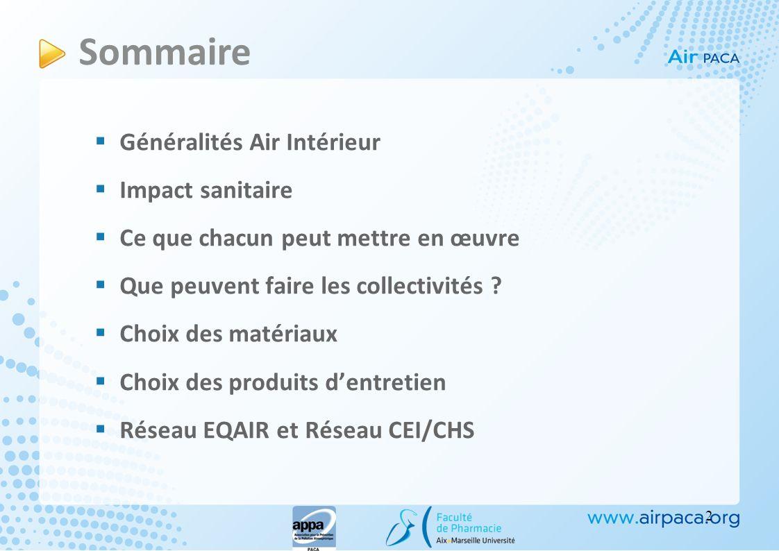 Sommaire Généralités Air Intérieur Impact sanitaire