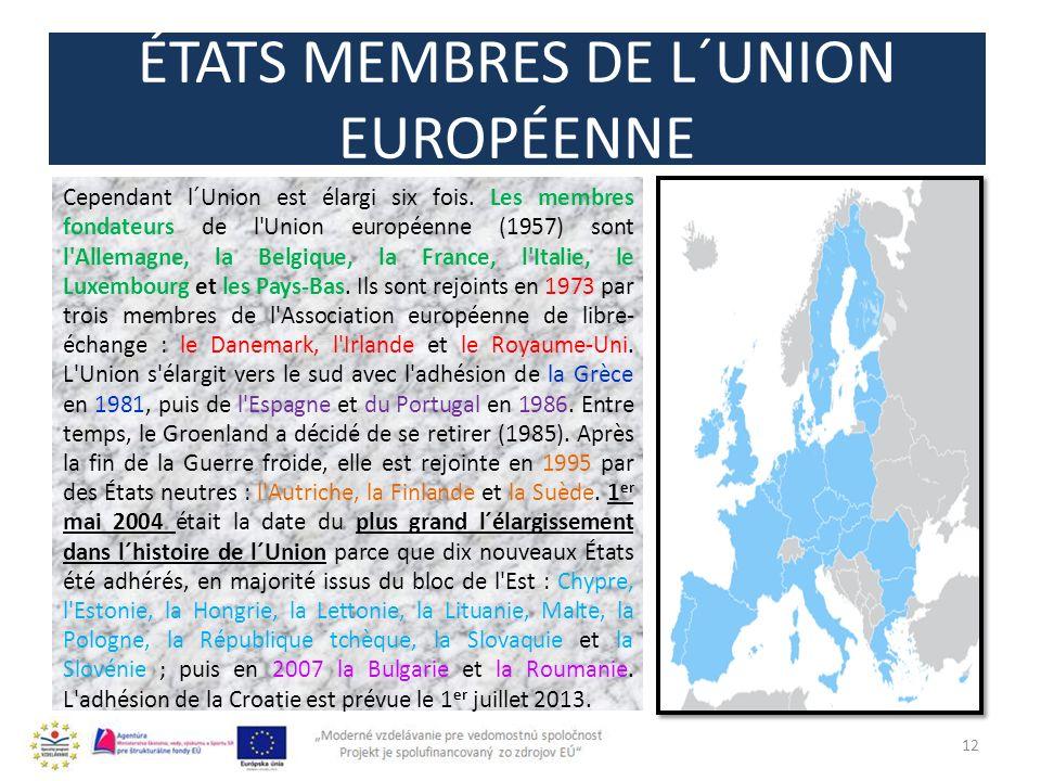 ÉTATS MEMBRES DE L´UNION EUROPÉENNE