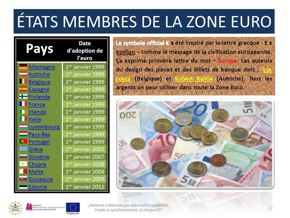 ÉTATS MEMBRES DE LA ZONE EURO