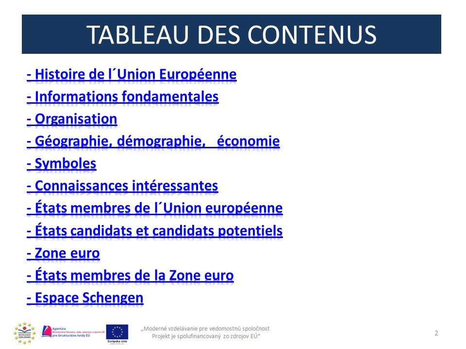TABLEAU DES CONTENUS