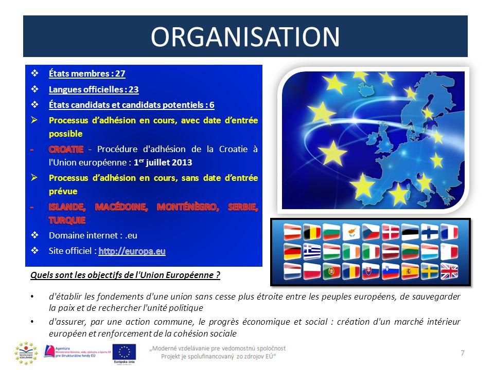 ORGANISATION États membres : 27 Langues officielles : 23