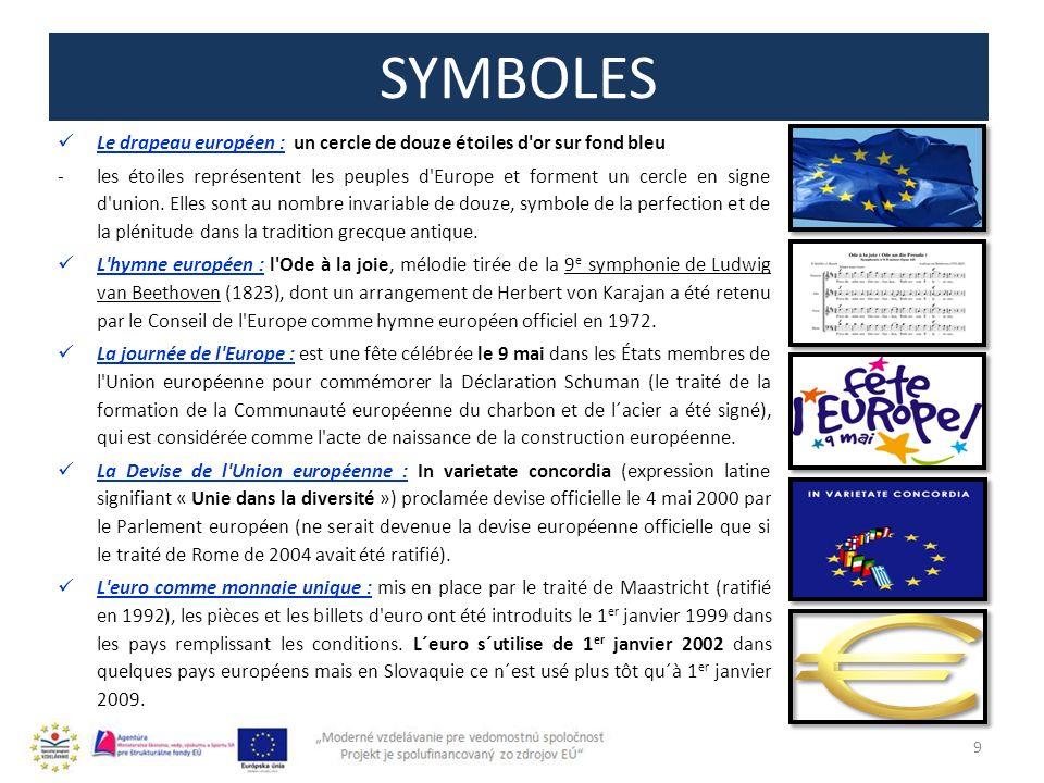 SYMBOLES Le drapeau européen : un cercle de douze étoiles d or sur fond bleu.