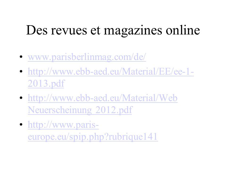 Des revues et magazines online