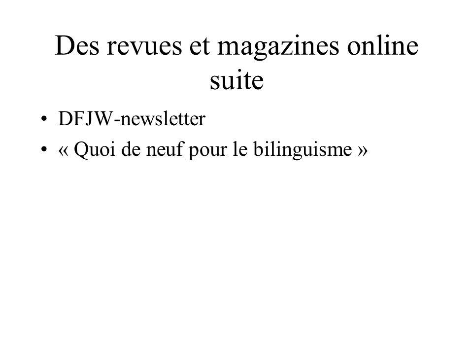 Des revues et magazines online suite
