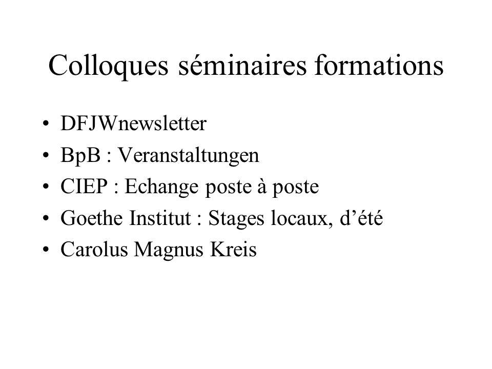 Colloques séminaires formations