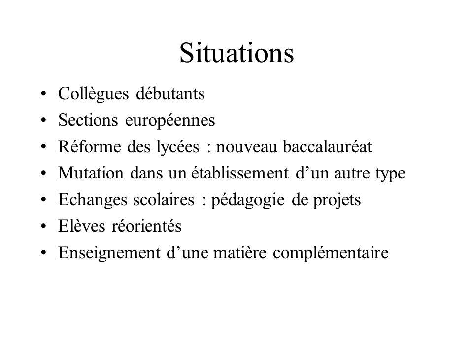 Situations Collègues débutants Sections européennes
