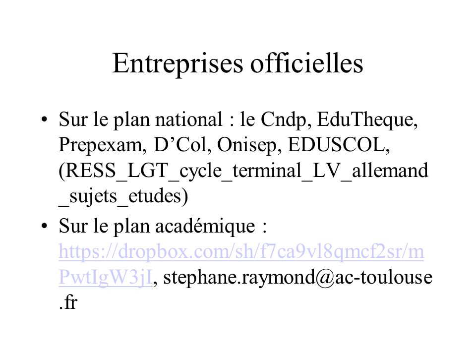 Entreprises officielles
