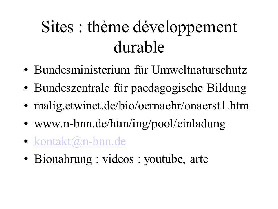 Sites : thème développement durable