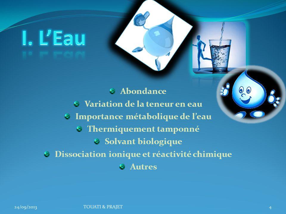 I. L'Eau Abondance Variation de la teneur en eau