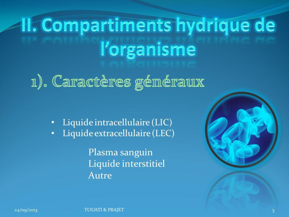 II. Compartiments hydrique de l'organisme