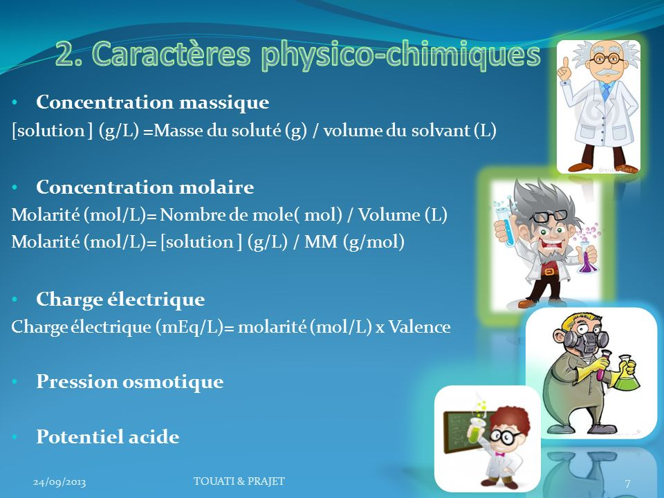 2. Caractères physico-chimiques