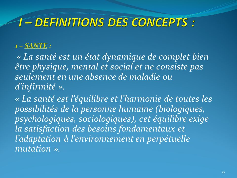 I – DEFINITIONS DES CONCEPTS :