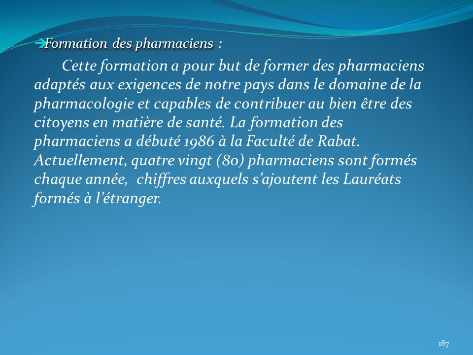 Formation des pharmaciens :