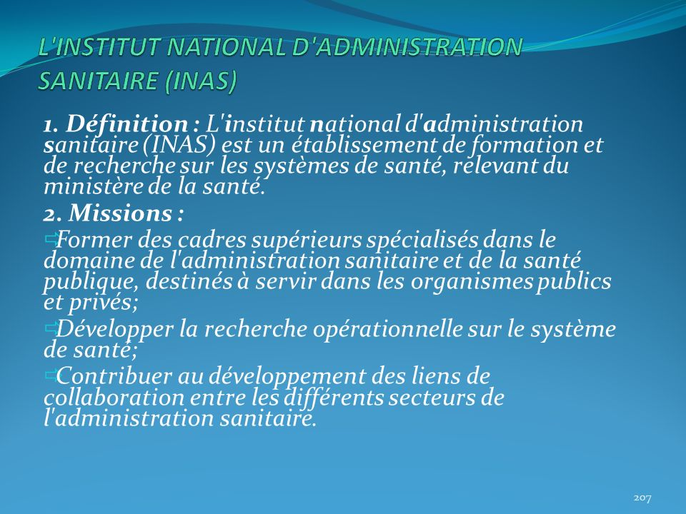 L INSTITUT NATIONAL D ADMINISTRATION SANITAIRE (INAS)