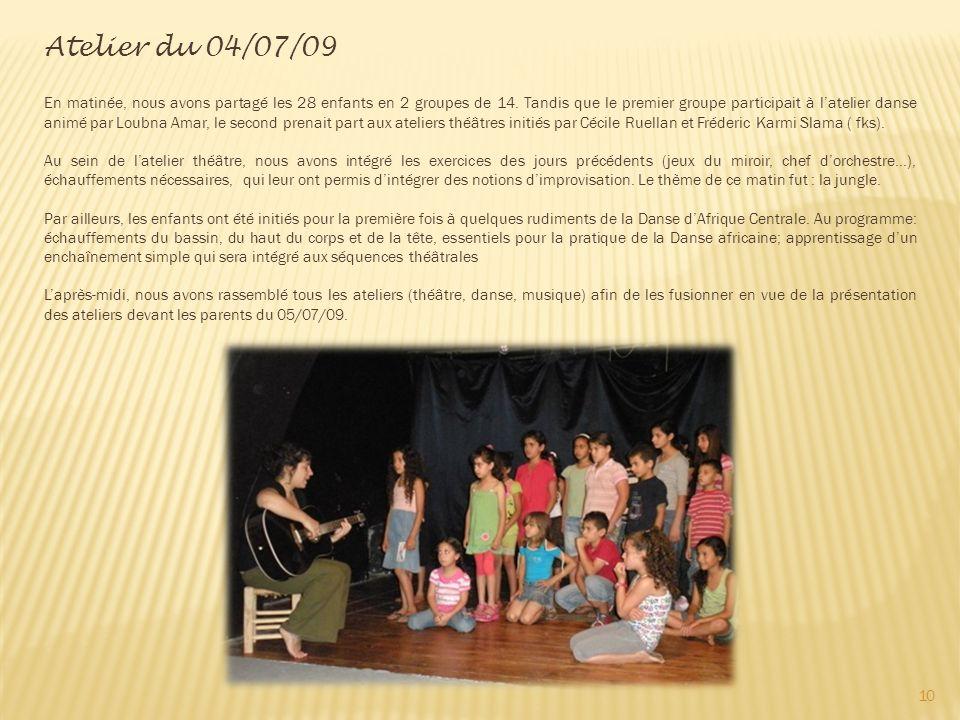 Atelier du 04/07/09