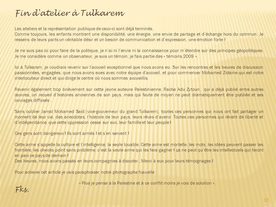 Fin d atelier à Tulkarem