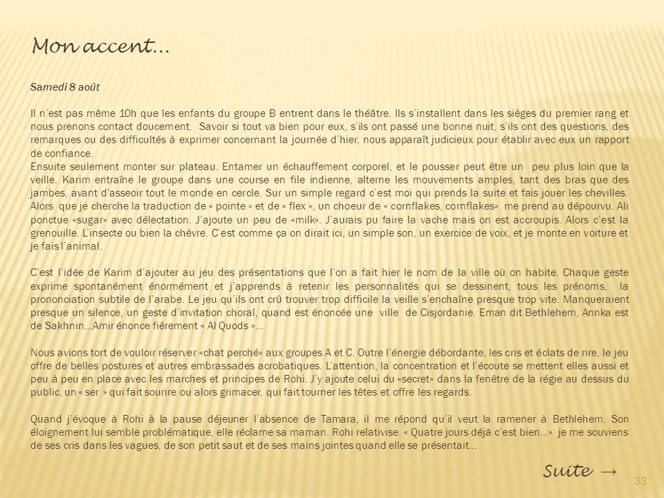 Mon accent... Suite → Samedi 8 août