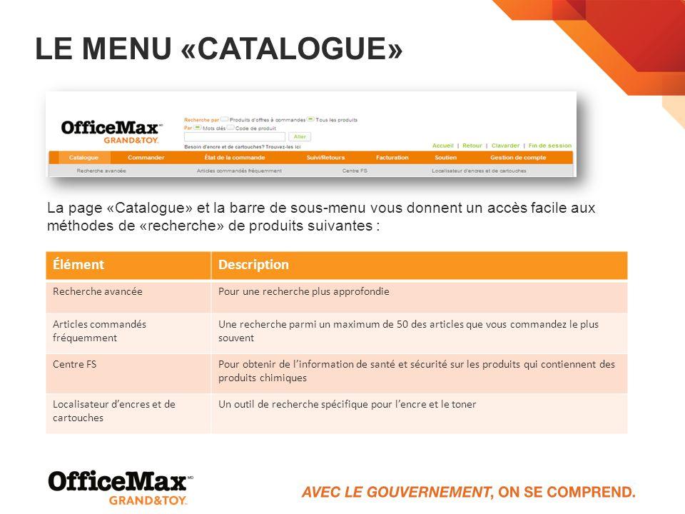 Le menu «Catalogue» La page «Catalogue» et la barre de sous-menu vous donnent un accès facile aux méthodes de «recherche» de produits suivantes :