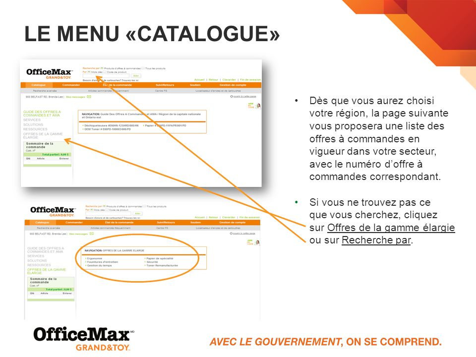 Le menu «Catalogue»
