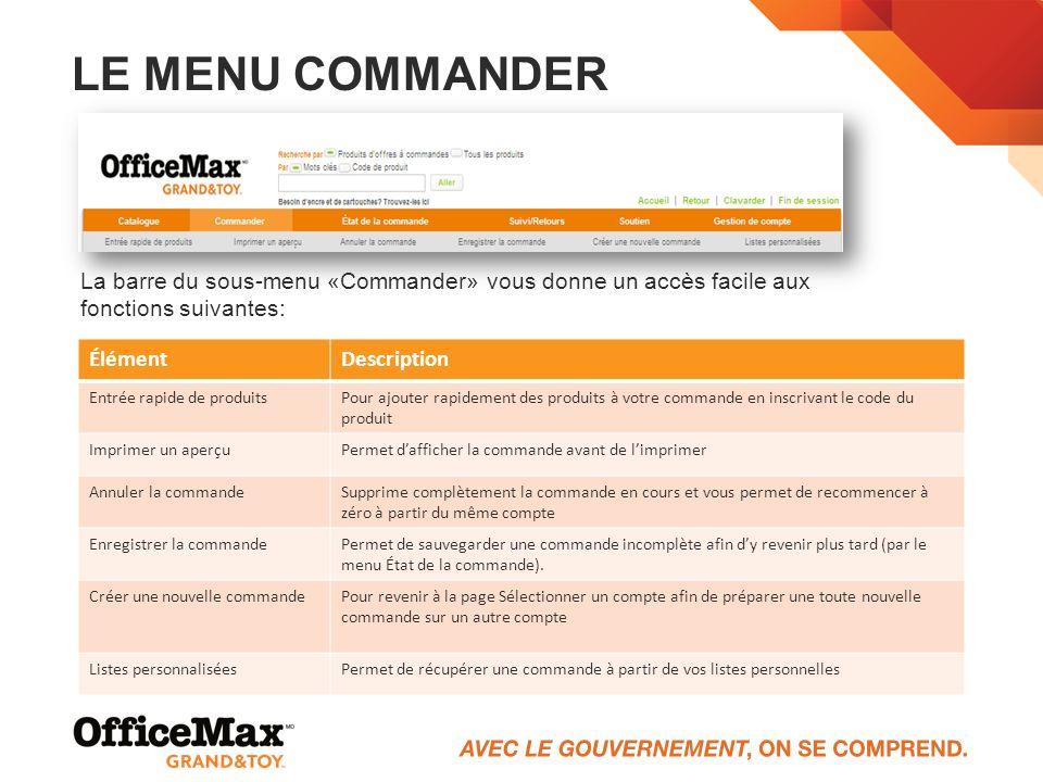 Le menu Commander La barre du sous-menu «Commander» vous donne un accès facile aux fonctions suivantes: