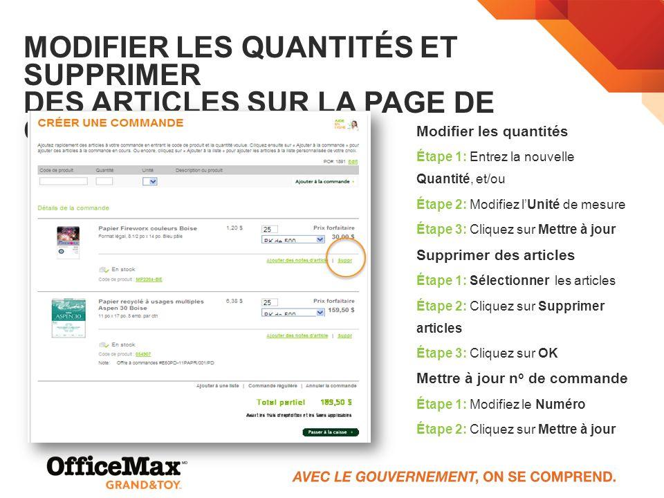 Modifier les quantités et supprimer des articles sur la page de commande