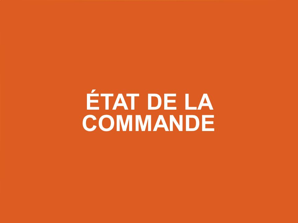 État de la commande Title slide – use this as a title slide in between other slides.