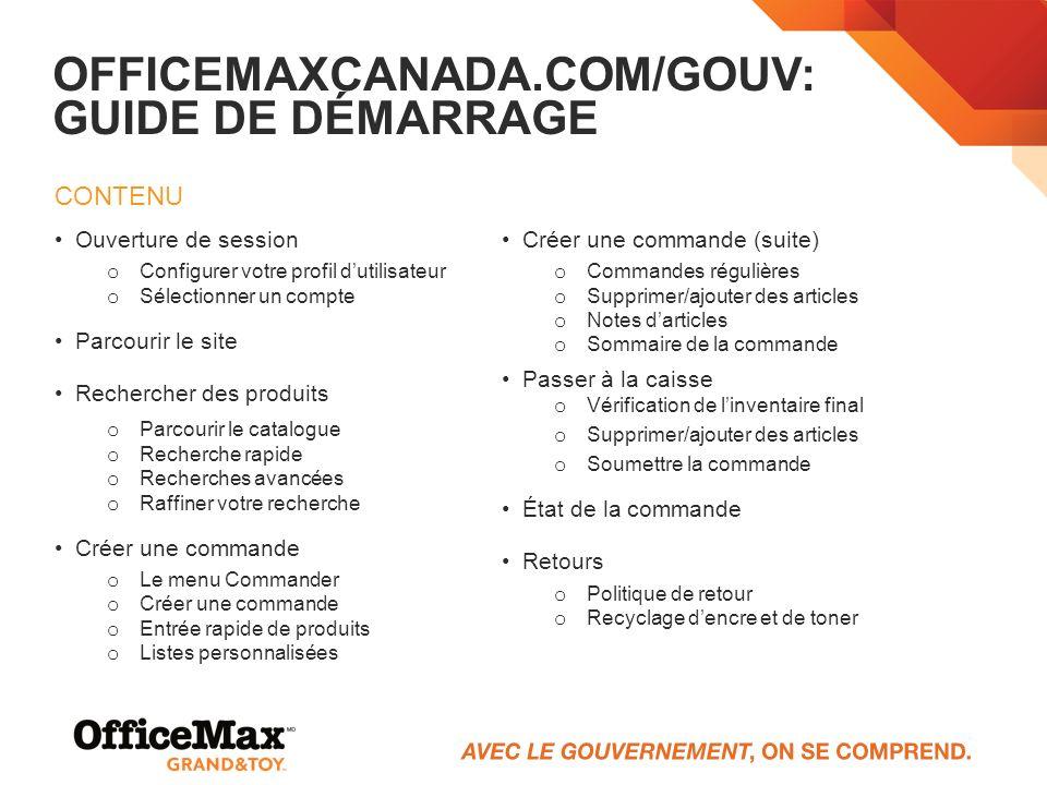 OFFICEMAXCANADA.COM/GOuV: Guide de démarrage
