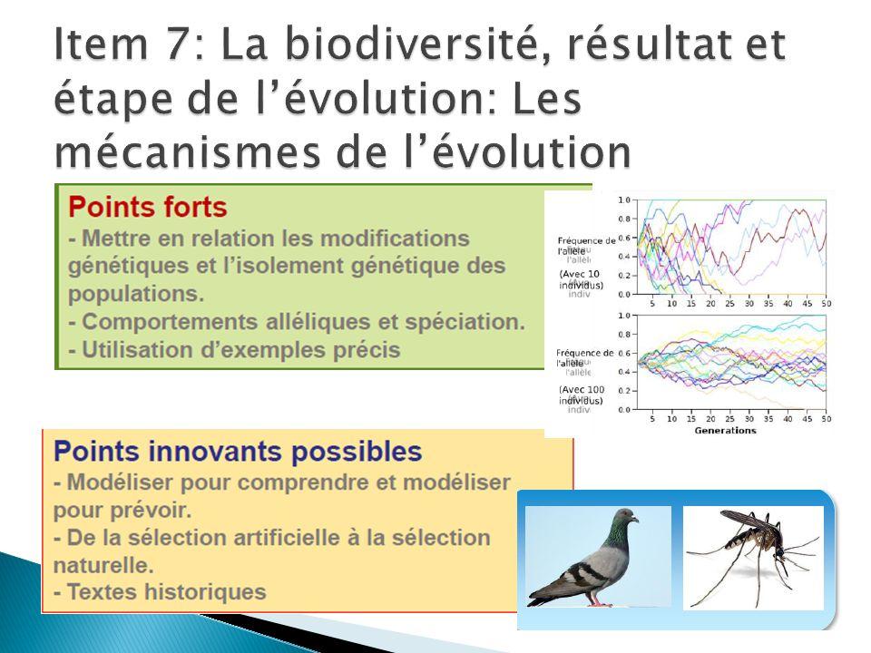Item 7: La biodiversité, résultat et étape de l'évolution: Les mécanismes de l'évolution