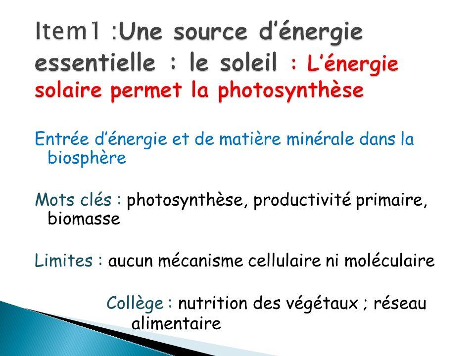 Item1 :Une source d'énergie essentielle : le soleil : L'énergie solaire permet la photosynthèse