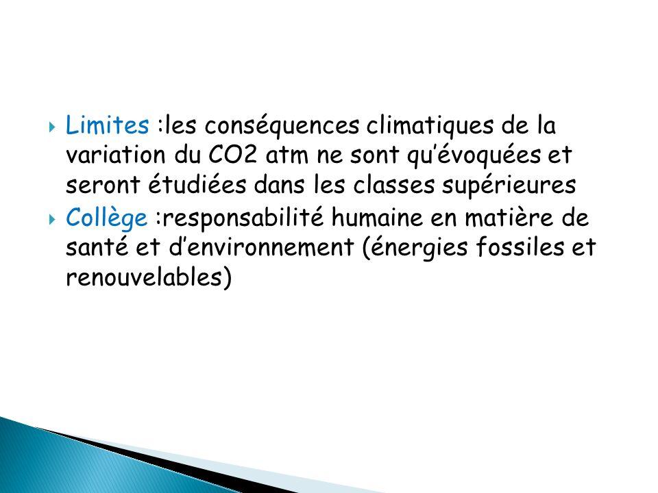 Limites :les conséquences climatiques de la variation du CO2 atm ne sont qu'évoquées et seront étudiées dans les classes supérieures