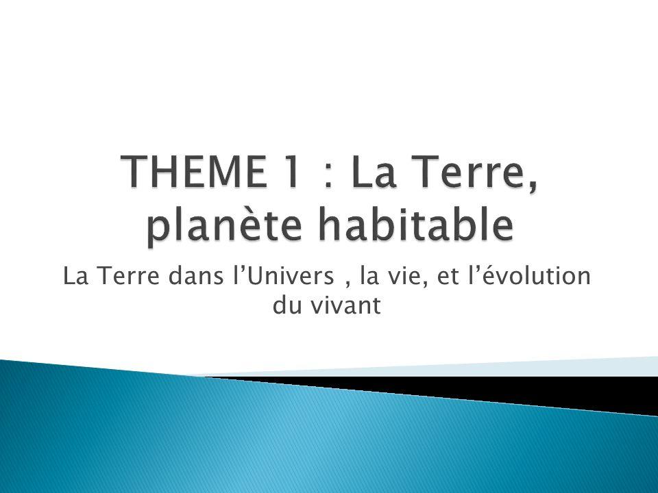 THEME 1 : La Terre, planète habitable